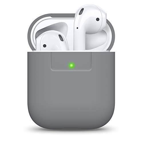 elago Funda AirPods Case Funda Premium Silicona Diseñado para Apple AirPods 1 & 2 (LED Frontal Visible) (Gris Medio)