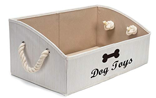 Geyecete Large Dog Toys Storage Bins - Foldable Fabric Trapezoid Organizer Boxes with Cotton Rope Handle, Collapsible Basket for Shelves, Dog Toys, Dog Apparel & Accessories,Dog Diaper (Beige-Dog)