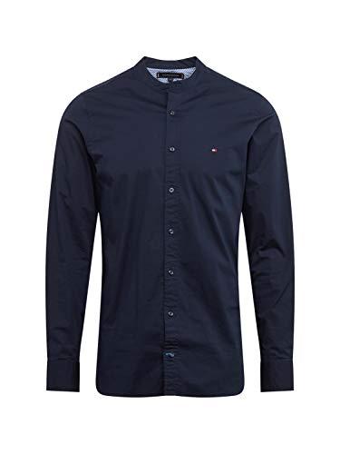 Tommy Hilfiger Herren Slim Stretch Mandarin Shirt Freizeithemd, Blau (Sky Captain 403), 40 (Herstellergröße: M)