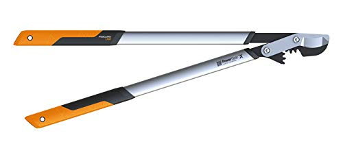 Fiskars PowerGear X Bypass Gear Scissors for Fresh Wood, Non-stick Coated, Hardened Precision Steel, Length: 80 cm,...