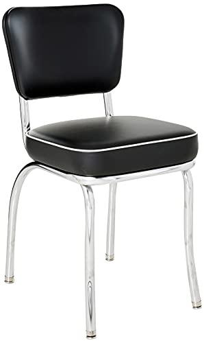 """Richardson Seating Retro Chrome Kitchen Chair with 2"""" Box Seat, Black"""