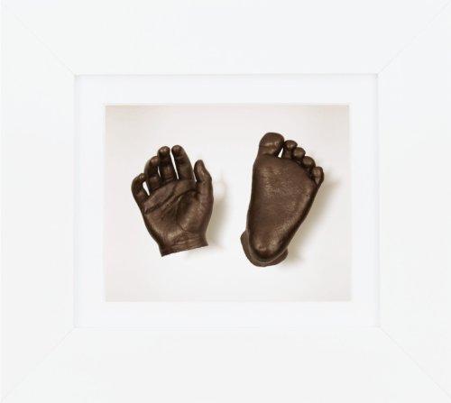 BabyRice New Baby Casting Kit mit 15,2 x 12,7 cm weißem 3D-Box-Rahmen / weißem Passepartout / weißer Rückseite / bronzefarben