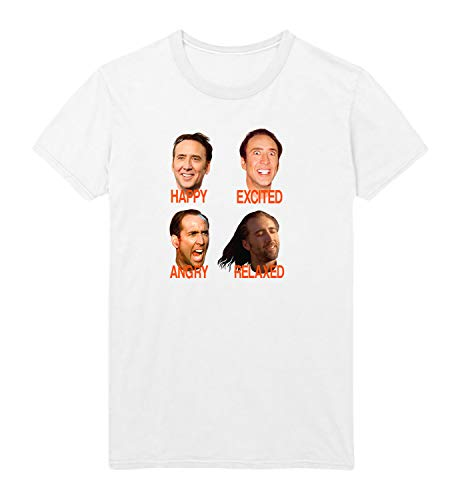 LumaShirts Nicolas Cage Mood Faces Con Meme Air D22 White Unisex Adult Tshirt Shirt XL White