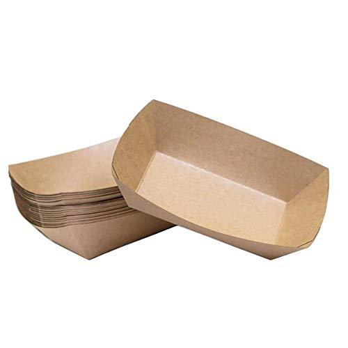 Bandeja de comida de papel, bandeja de comida de papel Kraft adicional Bandeja de bocadillos de comida rápida, 18x13x4 cm 50 PCS