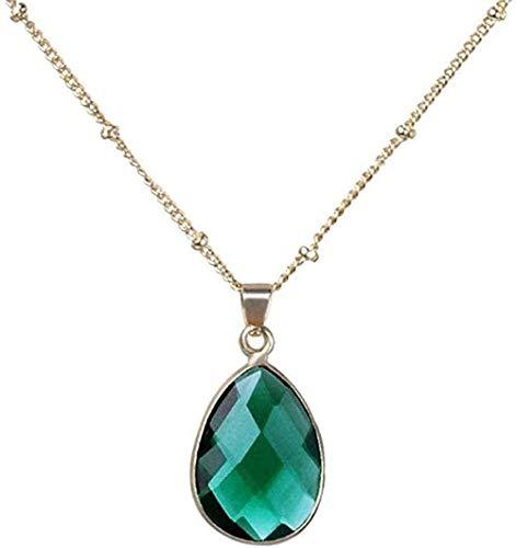 ZGYFJCH Co.,ltd Collar de Moda Collares Pendientes de Piedra para Mujer Piedra Preciosa Natural Gota de Agua Gota de Agua Collares Pendientes de Cristal Verde Oscuro con Adornos de Cadena de Oro