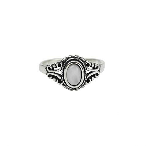 Esberry Massives Sterling Silber Ring Türkis Muschelstein Alt Öffnungen Ringe Natürlicher Kreativ Beliebt Handgemachter Einzigartiger Schmuck Geschenk für Frauen