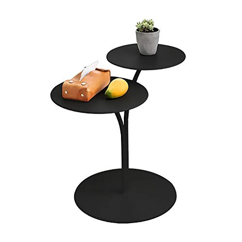 2-Tier Metal End Table Round Side Table Living Room Bedside Table Waterproof Coffee Table Decorative Lamp Table, Black