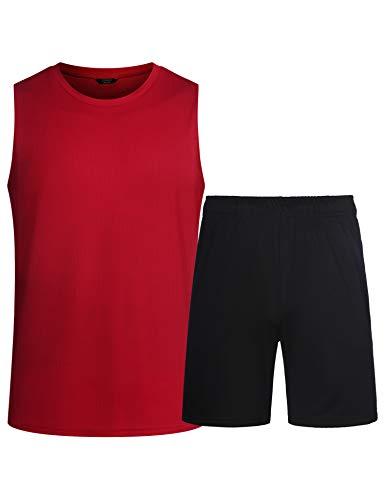 COOFANDY - Chándal para hombre, chándal de manga corta, camiseta de tirantes para el gimnasio Pat3. M