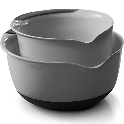 Gorilla Grip Mixing Bowls Set of 2, Slip Resistant Bottom, Includes 5 Qt and 3 Quart Nested Bowl, Perfect for the Dishwasher, Grip Handle for Easy Mix and Pour, Baking and Cooking 2 Piece Set, Gray