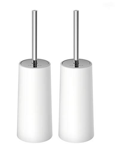 HOMEMAXSトイレブラシ 2本セット ケース付き 水はね防止 360度植毛 トイレ掃除用品 コンパクト スッキリ収納 衛生なデザイン 清潔簡単