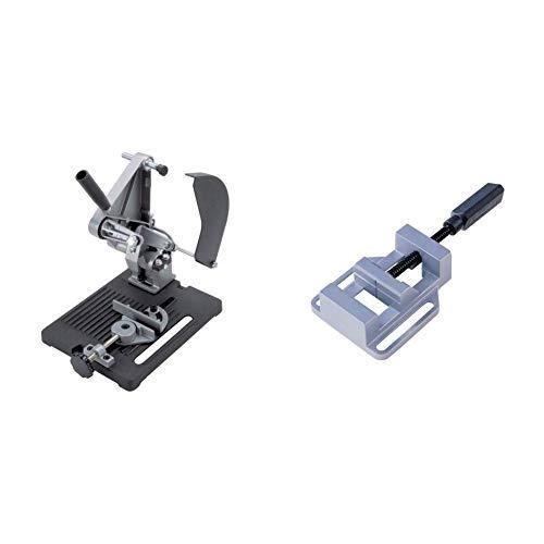 Wolfcraft 113232 5019000-1 Soporte para Cortar para Amoladora Angular diam. 115 y 125 mm, 1 W & 3412099 - Mordaza para taladro, ancho de boca 68 mm, ancho de sujeción hasta 65 mm