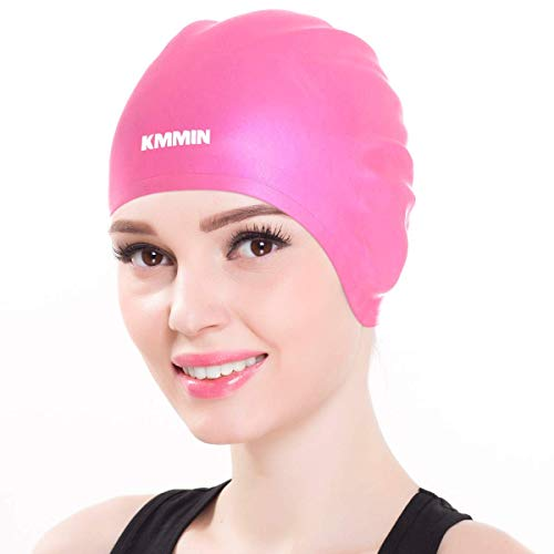 KMMIN Swim Cap, 3D Ergonomic Design Swimming Cap for Women Men Long Hair Short Hair Silicone Adult Swim Cap with Great Elasticity Ear Protection(Pink)