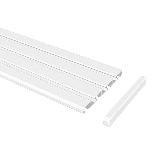 Flairdeco Vorhangschiene 3-/4-läufig Wendeprofil, Aluminium, Weiß, 140 cm