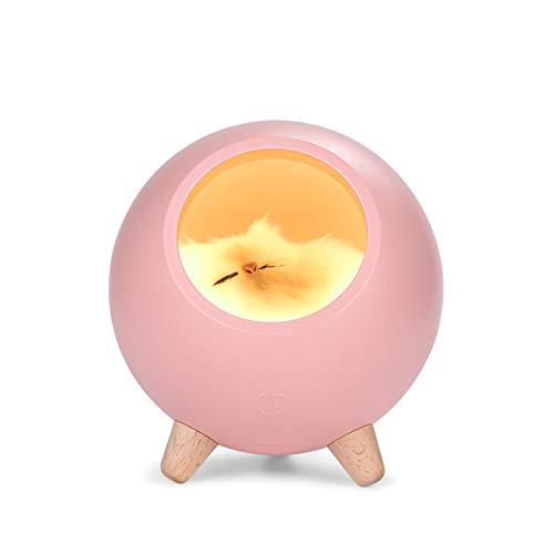 Luz de la Noche de los Niños,Luz de Noche LED–Pequeño Mascota Casa Lámpara con Muñeca de Gato,Luz de Noche Recargable USB para Dormitorio de Bebé Sala de Estar Decorativa(rosada)