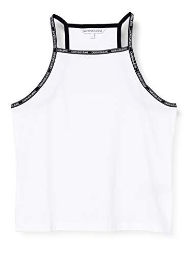 Calvin Klein Jeans Damen Logo Trim Tank Top Hemd, White, XS