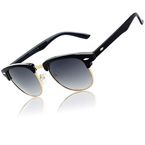 CGID MJ56 Retro Vintage Sonnenbrille im angesagte 60er Browline-Style mit markantem Halbrahmen Sonnenbrille,Gold-Violett