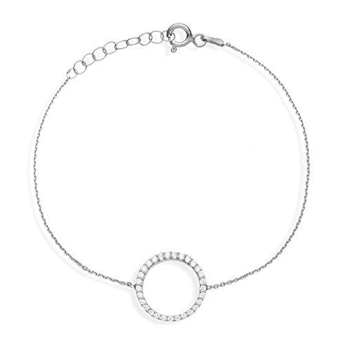 Ingenoius Jewellery - braccialetto in argento Sterling con cerchio aperto e zirconia, lunghezza 18–20cm