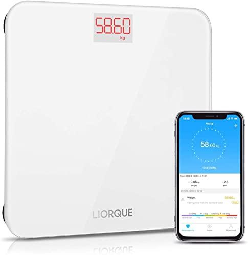 LIORQUE Personenwaage Digital Bluetooth Waage mit APP, Smart Step-On Technologie Waage Digital aus Gehärtetes Glas Waage BMI, 180 kg, Weiß