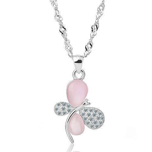 Daesar Collares de Plata de Ley Mujer Mariposa con Bola Circonita Blanca Colgantes de Mujer Rosa