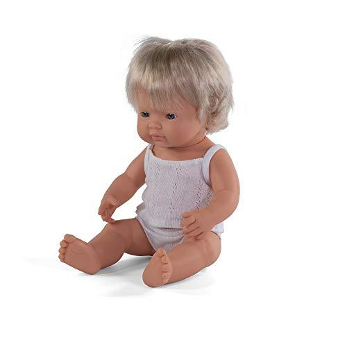 Miniland – Muñeco bebé Europea Niña de vinilo suave de 38cm con rasgos étnicos y sexuado para el aprendizaje de la diversidad con suave y agradable perfume. Presentado en caja de regalo.