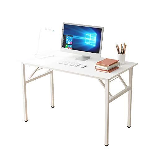DlandHome Mesa Plegable Mesa de Ordenador Escritorio de Oficina 100x60cm Mesa de Estudio Puesto de Trabajo Mesas de Recepción Mesa de Formación,Blanco