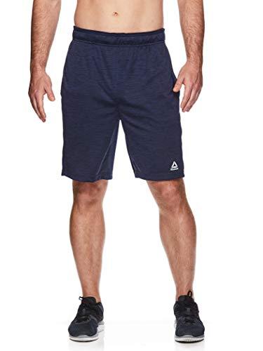 Reebok Men's Drawstring Shorts - Athletic Running & Workout Short w/Pockets - Cruz Short Navy Heather Blue, Large
