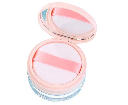 1 boîte à poudre en acrylique transparent vide remplissable avec grille éponge et miroir portable cosmétiques maquillage poudre pot de miel poudre pour filles et femmes