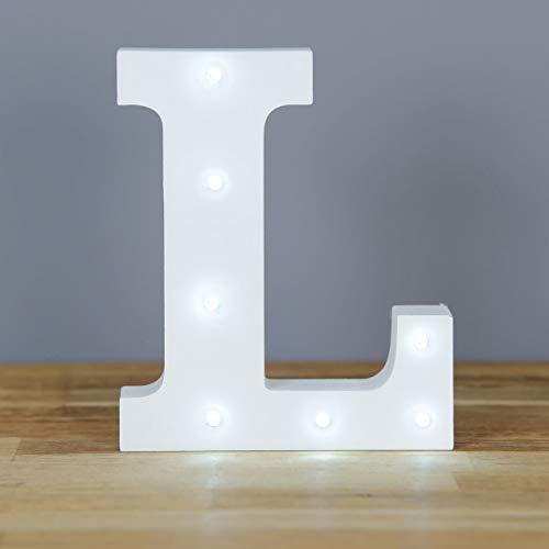 Up in Lights Muestra decorativa de madera blanca de las letras del LED - colgante de pared con pilas - Letra L
