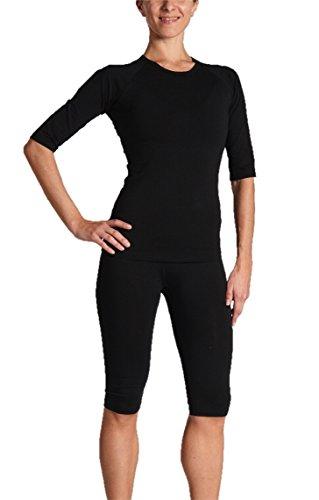 Gina's Bodywear Damen EMS-Wäsche, Trainingsanzug, Oberteil und Hose im Set, optimale Impulsweiterleitung (Schwarz, XL)