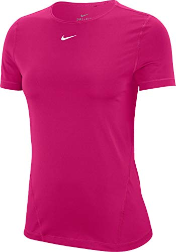 NIKE W NP Top SS All Over Mesh Camiseta, Fireberry/(White), XS para Mujer