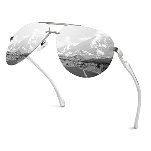 GQUEEN Occhiali da Sole Classic Cardini a Molla Montatura Al-Mg Senza Bordo Pilota Polarizzati MOF3