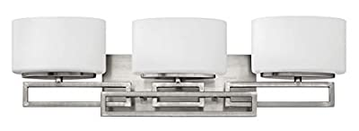 Hinkley 5103AN Contemporary Modern Three Light Bath from Lanza collection in Pwt, Nckl, B/S, Slvr.finish,