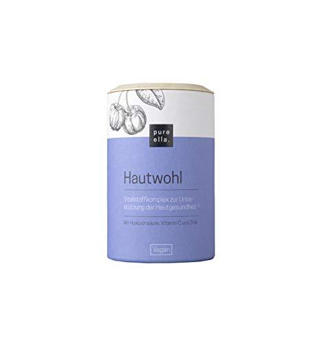 PURE ELLA HAUTWOHL, Vitalstoffkomplex zur Unterstützung der Kollagenbildung, mit Hyaluronsäure, Vitamin C und Zink, natürlich für gesunde Haut, vegan und hormonfrei (60 Kapseln)