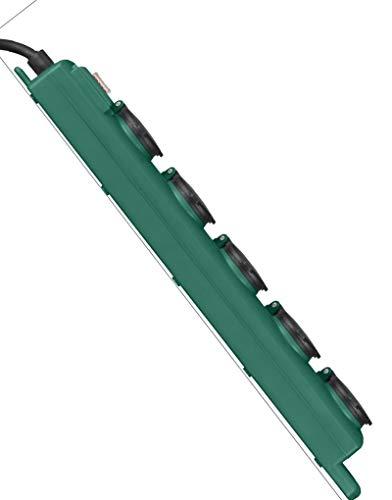 Brennenstuhl Super-Solid SL 554 Garten-Steckdosenverteiler / Outdoor Steckdosenleiste für den Einsatz im Garten (5-fach, 5m Kabel, mit Schalter, IP54) grün