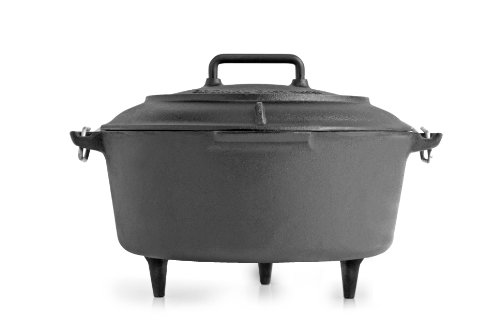 Volcano Grills Cast Iron Vintage Style Dutch Oven for Camping, 8 quarts, Black