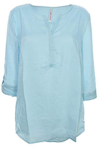 Sheego Tunika Longtunika Shirt Bluse Damen Langarm Viskose Lagenlook Plusgröße, Farbe:hellblau, Damengrößen:54