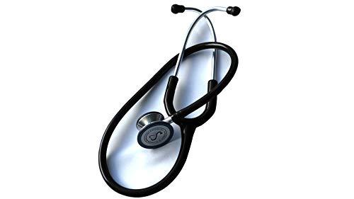 eSteth CLASSIQUE Stéthoscope- Double tête, qualité cardiaque avec finition en acier inoxydable et anneau non refroidissant - 32 pouces (Noir)