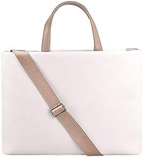 HAIMEI Business Laptop Briefcase Backpacks PU Waterproof Laptop Handbag Crossbody Bag for 13.3 inch Laptops (Pink) (Color : White)