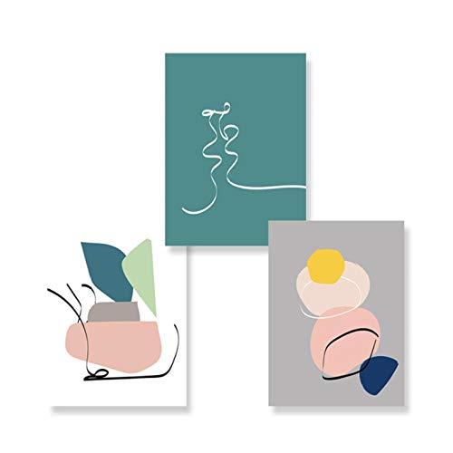 Modern, abstract, geometrisch canvas, Scandinavisch schilderwerk, kussen, wand, kunstdruk, voor woonkamer, decoratie thuis, 50 x 70 cm x 3 zonder lijst