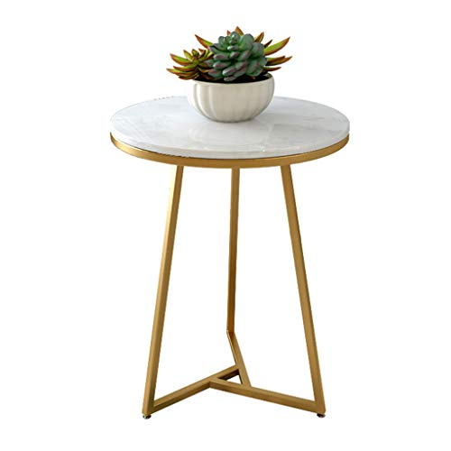 ZRN End Table Modern Decorative Furniture White Marble Top Gold Metal Frame Round Coffee Table