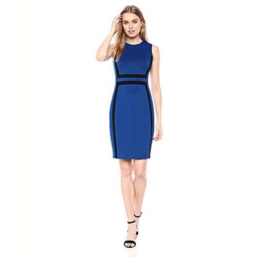 GOKOMO Frauen Rundhals Kontrast Farbe Nähen Fashion Professional Bleistift Rock Kleid(Blau,X-Large)