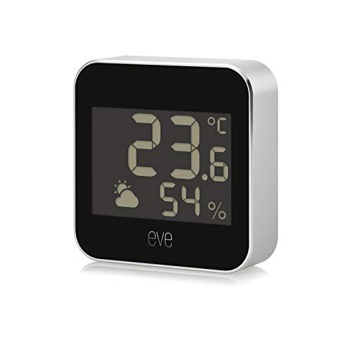 Eve Weather - Smarte Wetterstation mit Apple HomeKit-Technologie zum Überwachen von Temperatur, Luftfeuchtigkeit und Luftdruck; Wettertrend, IPX3-Wasserbeständigkeit, Display, Bluetooth, Thread