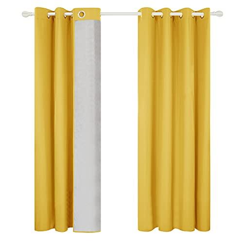 Cortinas salón amarillo mostaza (2 Piezas) 140x175 cm