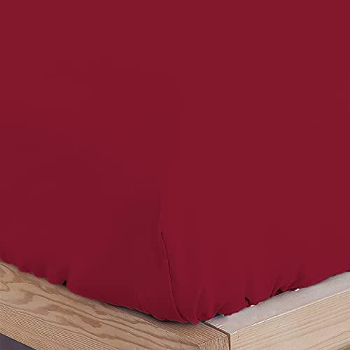 DALINA TEXTIL Sabanas Bajeras Ajustable para Cama de 150x190-200cm 100% Poliéster- Bajera Cama Barata Cómoda, de Tacto Suave y Cómodo. (Granate)