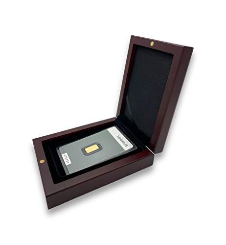 Goldbarren 1g Heraeus im edlen Geschenk-Etui mit Grußkarte - Mahagoni - Feingold 999,9 (1g Gold)