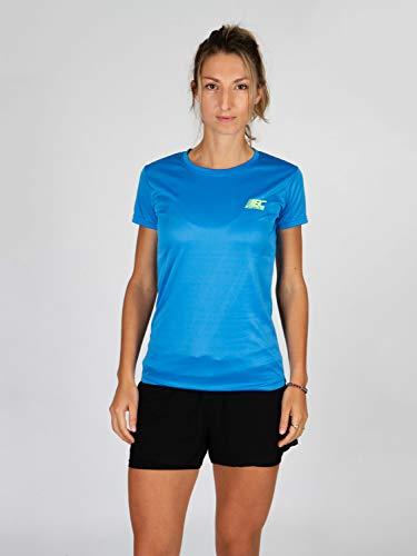 BODYCROSS Maillot Manches Courtes Col Rond Femme Paz Bleu Ciel Running, Jogging, Training - Léger, Respirant, Anti-Bactéries et Anti-Odeurs