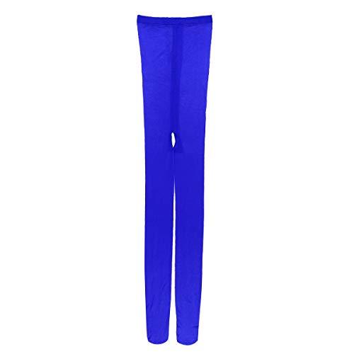 dPois Damen Transparent Bodysuit Bodystocking Ouvert-Strumpfhose Pantyhose Frauen Dessous Stretch Overall Reizwäsche Catsuit Gogo Kostüm Clubwear Nachtwäsche Blau One Size