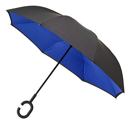 Paraguas ventilado doble toldo a prueba de viento, mango en forma de C y resistente al viento dentro hacia fuera Brolly