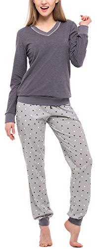 Merry Style Pijama Conjunto Camiseta y Pantalones Ropa de Cama Mujer MS10-230 (Melange Oscuro/Gris, XXL)
