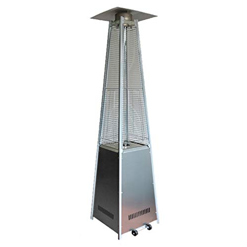 FLAMY Outdoor Pyramid Patio Heater (11KW),Movable Heater, Commercial High-power Heater, Rapid Heating, Adjustable Temperature, Suitable for Outdoor,living Room - Black, Stainless Steel